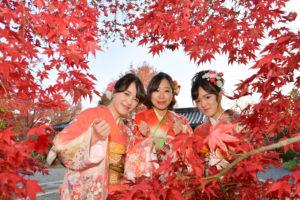 振袖を着た女性3人が紅葉に囲まれている